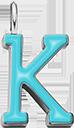 Pendentif Sens 1 cm, K, émail turquoise, plaqué argent
