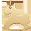 Cheval à bascule en plaqué or 2 cm