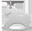 Cheval à bascule en argent 2 cm
