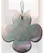 trèfle rond en nacre foncée de 1,5 cm, argent