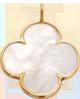 Trèfle rond en nacre de 1,5 cm avec bordure d'or