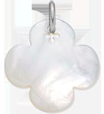 Trèfle rond en nacre de 2,7 cm, argent