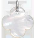 Trèfle rond en nacre de 2 cm, argent
