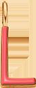 Pendentif Sens 1 cm, L, émail corail, plaqué or