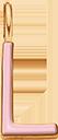 Pendentif Sens 1 cm, L, émail rose, plaqué or