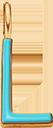 Pendentif Sens 1 cm, L, émail turquoise, plaqué or