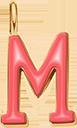 Pendentif Sens 1 cm, M, émail corail, plaqué or