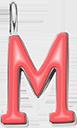 Pendentif Sens 1 cm, M, émail corail, plaqué argent