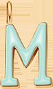 Pendentif Sens 1 cm, M, émail menthe, plaqué or