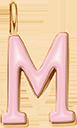 Pendentif Sens 1 cm, M, émail rose, plaqué or