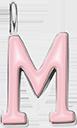 Pendentif Sens 1 cm, M, émail rose, plaqué argent