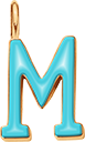 Pendentif Sens 1 cm, M, émail turquoise, plaqué or