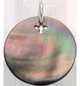médaille en nacre foncée de 2 cm, argent
