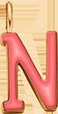 Pendentif Sens 1 cm, N, émail corail, plaqué or