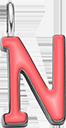Pendentif Sens 1 cm, N, émail corail, plaqué argent