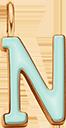 Pendentif Sens 1 cm, N, émail menthe, plaqué or