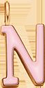 Pendentif Sens 1 cm, N, émail rose, plaqué or