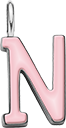 Pendentif Sens 1 cm, N, émail rose, plaqué argent