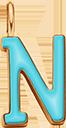Pendentif Sens 1 cm, N, émail turquoise, plaqué or