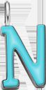 Pendentif Sens 1 cm, N, émail turquoise, plaqué argent