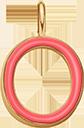 Pendentif Sens 1 cm, O, émail corail, plaqué or
