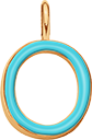 Pendentif Sens 1 cm, O, émail turquoise, plaqué or