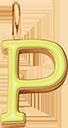 Pendentif Sens 1 cm, P, émail jaune, plaqué or