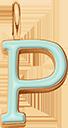 Pendentif Sens 1 cm, P, émail menthe, plaqué or