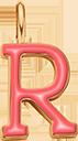 Pendentif Sens 1 cm, R, émail corail, plaqué or