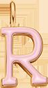 Pendentif Sens 1 cm, R, émail rose, plaqué or