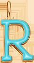 Pendentif Sens 1 cm, R, émail turquoise, plaqué or