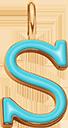 Pendentif Sens 1 cm, S, émail turquoise, plaqué or