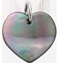 cœur en nacre foncée de 1,5 cm, argent
