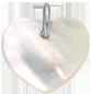 Cœur en nacre de 1,5 cm, argent