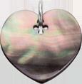 cœur en nacre foncée de 2 cm, argent
