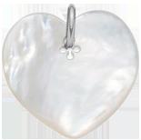 Cœur en nacre de 2,7 cm, argent