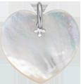 Cœur en nacre de 2 cm, argent