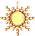 Pendentif Soleil avec une citrine, 3 cm, plaqué or