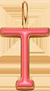 Pendentif Sens 1 cm, T, émail corail, plaqué or