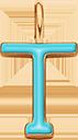 Pendentif Sens 1 cm, T, émail turquoise, plaqué or