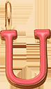 Pendentif Sens 1 cm, U, émail corail, plaqué or