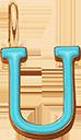 Pendentif Sens 1 cm, U, émail turquoise, plaqué or