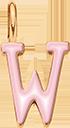 Pendentif Sens 1 cm, W, émail rose, plaqué or
