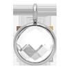 Pendentif avec quartz blanc, plaqué argent, 1 cm
