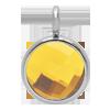 Pendentif avec quartz jaune, plaqué argent, 1 cm