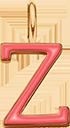 Pendentif Sens 1 cm, Z, émail corail, plaqué or