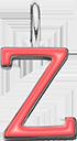 Pendentif Sens 1 cm, Z, émail corail, plaqué argent
