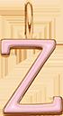 Pendentif Sens 1 cm, Z, émail rose, plaqué or