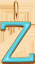 Pendentif Sens 1 cm, Z, émail turquoise, plaqué or