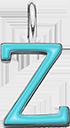 Pendentif Sens 1 cm, Z, émail turquoise, plaqué argent